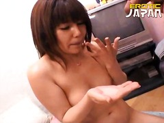 Superb asian cutie Momo Sakura slurping a massive dick in bedroom