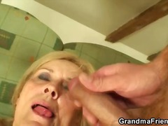 granny, dick, blonde, nylon, blowjob,