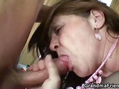 granny, brunette, blowjob, glasses, threesome, hardcore