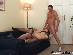 granny, big, blowjob, threesome