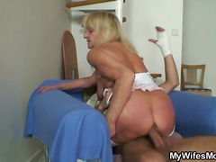 nylon, blowjob, blonde, granny,