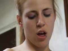 Blonde babe eats his c...