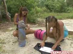 Hot playful lesbian Sophia and Nicole are camping in the backyard