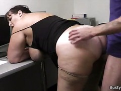 Heavy girl banged in o... video