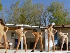 Thumbmail - Six naked girls by the...