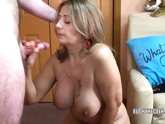 Latina Sandie swallows a lucky geeks stiff cock