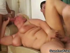 Drunk granny takes two cocks