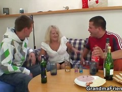 granny, blonde, amateur, blowjob, threesome, hardcore