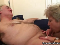 Granny slut enjoys two...