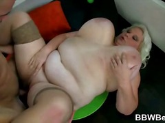 Fat blonde is happy on...