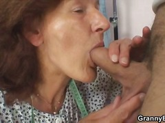 Granny insists on riding his young cock