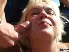 granny, blowjob, blonde, cumshot, outdoors, hardcore