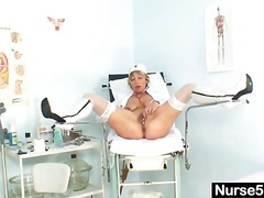mature, blonde, ass, uniform, toys