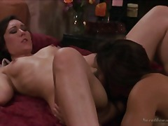 Over Thumbs Movie:Two hot lesbian babes fucking ...