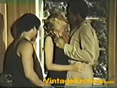 A vintage movie of an interracial cock loving pussy