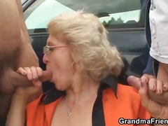 hardcore, granny, blowjob, handjob, outdoors, threesome