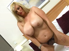shaved, toys, blonde, tits, big-tits,