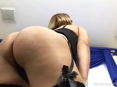 Blond Shemale Plays Wi...