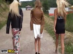 Outdoor xxx video beside two hot bitches