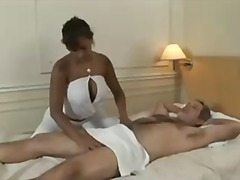 Busty brunette gives massage to old g...
