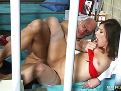 brunette, uniform, blowjob,
