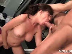 milf, brunette, sucking, cock, mom,