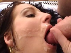 Brunette gives head and he jacks off ...
