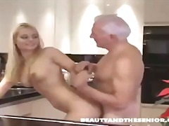 Ugly Old Man Fucks Beautiful Blonde Teen and She Swallows