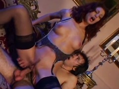 Mature gal with curly red hair rubs h...