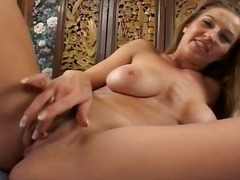 Busty brunette MILF swallows his man meat and gets toys and a cock in her snatch