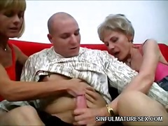 handjob, group-sex, mature, blowjob