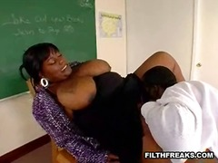 ebony, teacher, big-tits, face-fucking