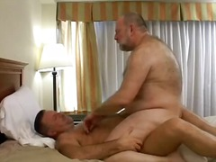 Older fat male has his big yonker licked hard