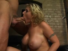 Big breasted babe Velicity Von sucking big hard cock while fingering her pussy