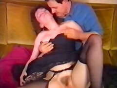 Classic hardcore action with a mature brunette getting drilled in her furry muff