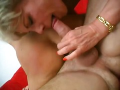 Two Horny aged ladies share one Lucky fucker