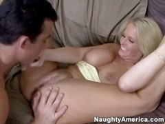 Excited Blonde xxx Honey Maya riding a white cock
