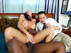 hardcore, big-tits, brunette, huge-cock, threesome, interracial