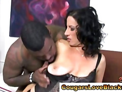 Mature cougar milf sucking big black cock