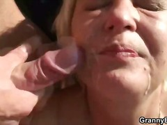 hardcore, granny, outdoors, blowjob, blonde