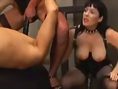 Strapon gangbang for his tight ass