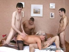 Blonde SEXY MILF team-bonked in her o...