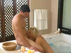 cock, milf, swallow, bathroom,