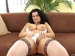 blowjob, handjob, mature, stockings