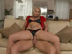 Blonde babe Caty Campbell in black