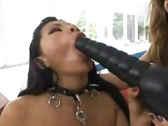 threesome, anal, fishnets, toys,