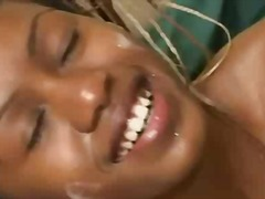 Ebony girl gets an explosive facial