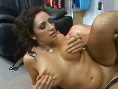 Mature busty brunette slut on the floor gets her wet pussy fucked