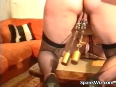Nasty mature slut has chains on her p...