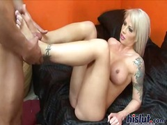 mature, blonde, footjob, milf,